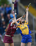 Olivia Phelan of Clare in action against Erica Leslie of Galway during their Minor A All-Ireland final at Nenagh.  Photograph by John Kelly.