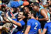 3rd February 2019, Spotless Stadium, Sydney, Australia; HSBC Sydney Rugby Sevens; French players take selfies with the crowd