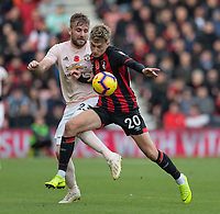 Manchester United's Luke Shaw (left) battles with Bournemouth's David Brooks (right) <br /> <br /> Photographer David Horton/CameraSport<br /> <br /> The Premier League - Bournemouth v Manchester United - Saturday 3rd November 2018 - Vitality Stadium - Bournemouth<br /> <br /> World Copyright &copy; 2018 CameraSport. All rights reserved. 43 Linden Ave. Countesthorpe. Leicester. England. LE8 5PG - Tel: +44 (0) 116 277 4147 - admin@camerasport.com - www.camerasport.com
