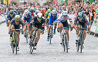 Picture by Allan McKenzie/SWpix.com - 03/09/2017 - Cycling - OVO Energy Tour of Britain -  Stage 1 Edinburgh to Kelso - Orica Scott's Caleb Ewan beats Dimension Data's Edvald Boasson-Hagen to the sprint finish at Stage 1 of the Tour of Britain.
