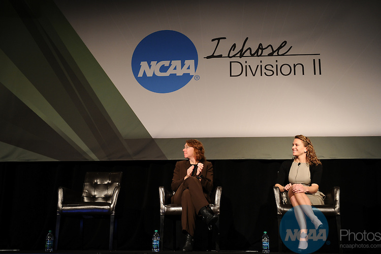 13 JAN 2012:  The Division II General Session is held during the 2012 NCAA Convention held at the JW Marriott and Indianapolis Convention Center in Indianapolis, IN.  Joshua Duplechian/NCAA Photos.Pictured: Dr. Sandra Magnus, Shannon Gagne