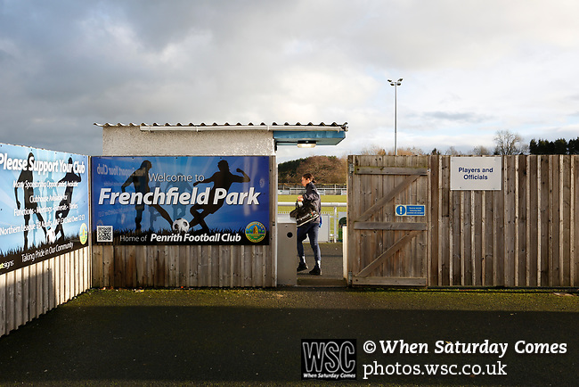 A member of the Penrith staff arrives. Penrith AFC V Hebburn Town, Northern League Division One, 22nd December 2018. Penrith are the only Cumbrian team in the Northern League. All the other teams are based across the Pennines in the north east.<br /> Penrith, winless at kick off, lost a thriller 3-4, in front of 100 people. They won five games all season, but were reprieved from relegation following Blyth's resignation from the league.