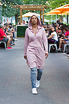 """Model walks runway in an outfit from the Edwing D'Angelo Spring Summer 2019 """"Pristine"""" collection at Sofrito in New York City on July 11, 2018; during New York Fashion Week: Men's Spring Summer 2019."""