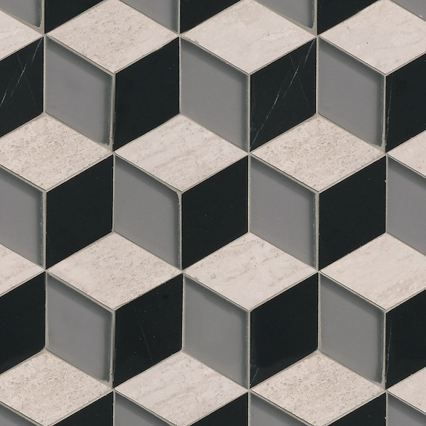 Euclid, a hand-cut mosaic shown in Warm Grey glass, polished Nero Marquina, and polished Whitewood, is part of the Illusions™ Collection by Sara Baldwin Designs for New Ravenna.