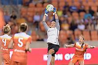 Houston, TX - Friday May 20, 2016: Goalkeeper Lydia Williams (18) of the Houston Dash. The Orlando Pride defeated the Houston Dash 1-0 during a regular season National Women's Soccer League (NWSL) match at BBVA Compass Stadium.