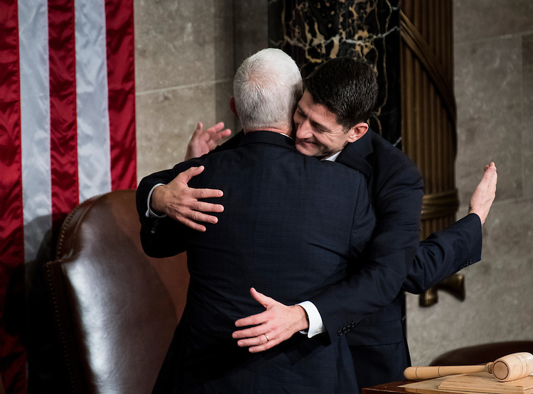 UNITED STATES - FEBRUARY 28: Speaker of the House Paul Ryan, R-Wisc., hugs Vice President Mike Pence as he arrives for  President Donald Trump's address to a joint session of Congress on Tuesday, Feb. 28, 2017. (Photo By Bill Clark/CQ Roll Call)
