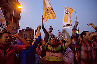EGYPT / Cairo / 27.11.2012 / Protesters chant during a march from the Shubra neighbourhood to Tahrir square, where thousands of people have gathered to protest President Morsi's above-the-law constitutional declaration. <br /> <br /> © Giulia Marchi
