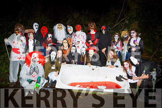 Studenst from Gaelcolaiste Chiarrai Tralee  at the Knocknagoshel Halloween Festival on Sunday night