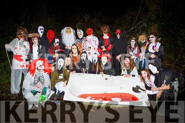 Studenst from Gaelcolaiste Chiarrai Tralee  at the Knocknagoshel Halloween Festival on Sunday night