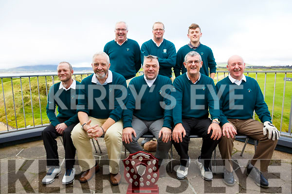 The Waterville side who carried an 8 hole lead into the final leg of the Federation of Kerry Golf Clubs Intermediate Challenge Shield added another 8 holes to their total to take the title for the second year in a row defeating Ballyheigue on Sunday in Waterville, pictured here front l-r; Eamon McGillicuddy, Vernon Devan(Manager), Andrew Cooke(Team Captain), Connor Maher, Kevin O'Sullivan, back l-r; Ger McSweeney, Finbar McGillicuddy & Stephen Murphy.
