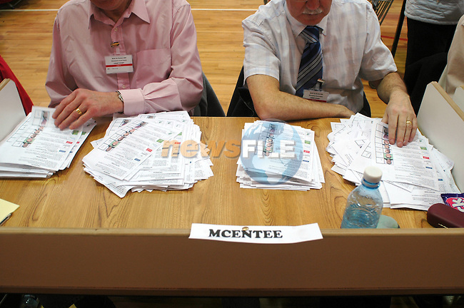 11/03/05 - Meath By-Election. Simonstown GFC, Navan County Meath..McEntee votes being counted at the above..Photo:Barry Cronin/Chromepix.com - All rights reserved, One time use only, additional use requires additional payment. Phone 046-9071873/087-9598549 www.chromepix.com barry@chromepix.com.