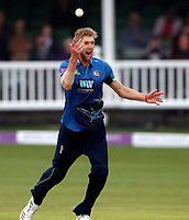 Calum Haggett celebrates taking the wicket of Peter Trego during the Royal London One Day Cup game between Kent and Somerset at the St Lawrence Ground, Canterbury, on May 29, 2018