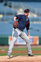 Logan Allen (33) of IMG Academy and Fletcher, South Carolina playing for the Cleveland Indians scout team during the East Coast Pro Showcase on August 1, 2014 at NBT Bank Stadium in Syracuse, New York.  (Mike Janes/Four Seam Images)