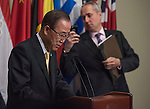 United Nation SG Ban Ki Moon speaks to the press