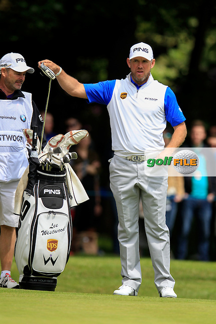 Lee Westwood (ENG) on the 1st during the final round of the 2016 BMW PGA Championship. Wentworth Golf Club, Virginia Water, Surrey, UK. 29/05/2016.<br /> Picture Fran Caffrey / Golffile.ie<br /> <br /> All photo usage must carry mandatory copyright credit (&copy; Golffile | Fran Caffrey)