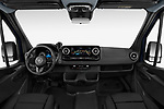 Stock photo of straight dashboard view of 2019 Mercedes Benz Sprinter-Tourer Design-Line 4 Door Passanger Van Dashboard