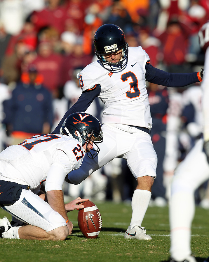 Nov 27, 2010; Charlottesville, VA, USA;   Virginia Cavaliers kicker Robert Randolph (3) during the game at Lane Stadium. Virginia Tech won 37-7. Mandatory Credit: Andrew Shurtleff-
