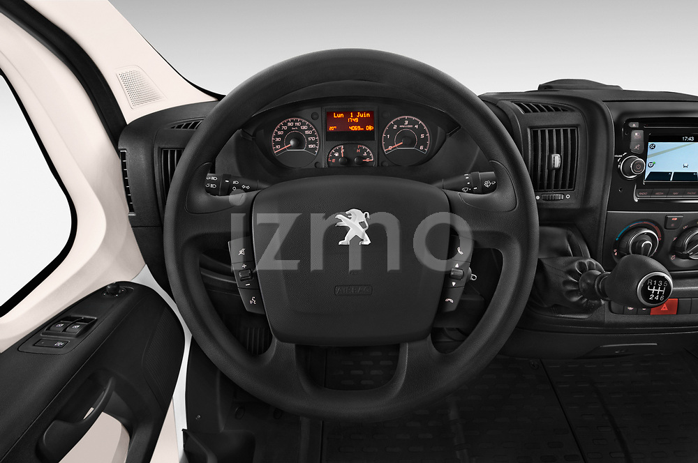 Car pictures of steering wheel view of a 2018 Peugeot Boxer Pro 5 Door Cargo Van