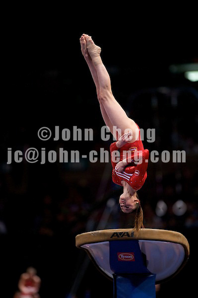 3/1/08 - Photo by John Cheng - Shayla Worley of the United States performs on vault at the Tyson American Cup in Madison Square GardenPhoto by John Cheng - Tyson American Cup 2008 in Madison Square Garden, New York.Shayla Worley