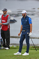 Dustin Johnson (USA) watches his tee shot on 7 during round 2 of the 2019 US Open, Pebble Beach Golf Links, Monterrey, California, USA. 6/14/2019.<br /> Picture: Golffile | Ken Murray<br /> <br /> All photo usage must carry mandatory copyright credit (© Golffile | Ken Murray)