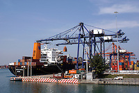 Containers being loaded onto a freighter  in the port city of Veracruz, Mexico