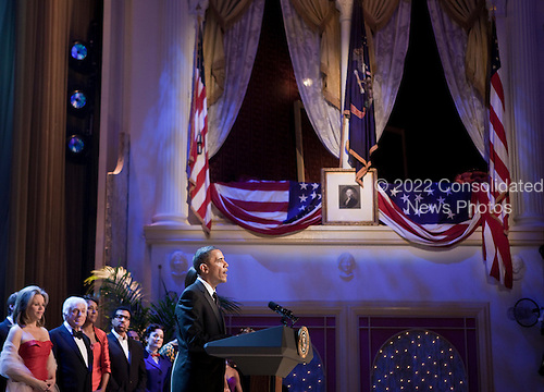 "Singer Renee Fleming (L), entertainer Dick Van Dyke (2L), TV personality Robin Roberts (3L), musician Lionel Richie (4L), actor Laura Kelly (5L) and others listen as United States President Barack Obama speaks during a television taping underneath the box where President Abraham Lincoln was assassinated at Ford's Theatre, Sunday, June 6, 2010 in Washington, DC.  The President and First Lady attended a performance of  ""America Celebrates 4th of July"" which honored South African Justice Albie Sachs and Archbishop Emeritus Desmond Tutu with the 2010 Lincoln Medal. .Credit: Brendan Smialowski - Pool via CNP"