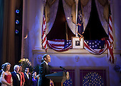 """Singer Renee Fleming (L), entertainer Dick Van Dyke (2L), TV personality Robin Roberts (3L), musician Lionel Richie (4L), actor Laura Kelly (5L) and others listen as United States President Barack Obama speaks during a television taping underneath the box where President Abraham Lincoln was assassinated at Ford's Theatre, Sunday, June 6, 2010 in Washington, DC.  The President and First Lady attended a performance of  """"America Celebrates 4th of July"""" which honored South African Justice Albie Sachs and Archbishop Emeritus Desmond Tutu with the 2010 Lincoln Medal. .Credit: Brendan Smialowski - Pool via CNP"""