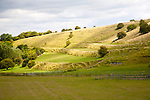 Ancient terraced fields known as strip lynchets cut into a chalk scarp slope at Bishopstone, Wiltshire, England, UK