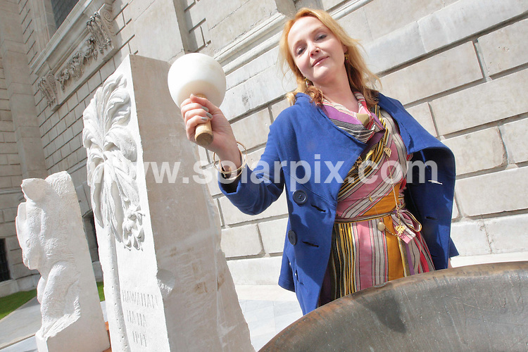 **ALL ROUND PICTURES FROM SOLARPIX.COM**.**NO UK NEWSPAPER PUBLICATION**.**UK MAGAZINE & SUPPLEMENT PUBLICATION ONLY** AND NO PUBLICATION IN AUSTRALIA, FRANCE, GERMANY, ITALY AND SCANDINAVIA** .Actress Miranda Richardson rang the MEMO (Mass Extinction Memorial Observatory) bell in the South Churchyard of St Pauls Cathedral in London this afternoon. .A chain of bells will ring out from Portland to London ending with the Great Bell of Bow. Bells are also being rung in US, India and Brazil...MEMO is a project to build a sublimely beautiful, ongoing memorial commemorating all the species to have perished in the Earth's ongoing sixth mass extinction, on the Isle of Portland in Dorset. The bell will sit on top. It has the rarely bestowed official endorsement of the Royal Society..London, UK. 22 May 2009..This pic: Miranda Richardson..JOB REF: 9086 SFE       DATE: 22_05_2009.**MUST CREDIT SOLARPIX.COM OR DOUBLE FEE WILL BE CHARGED**.**ONLINE USAGE FEE GBP 50.00 PER PICTURE - NOTIFICATION OF USAGE TO PHOTO @ SOLARPIX.COM**.**CALL SOLARPIX : +34 952 811 768 or LOW RATE FROM UK 0844 617 7637**