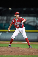Batavia Muckdogs relief pitcher Dustin Beggs (47) during a game against the Aberdeen Ironbirds on July 16, 2016 at Dwyer Stadium in Batavia, New York.  Aberdeen defeated Batavia 9-0. (Mike Janes/Four Seam Images)