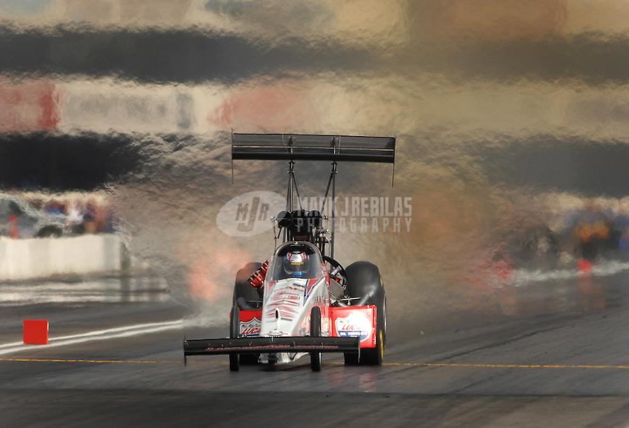 Nov 4, 2007; Pomona, CA, USA; NHRA top fuel dragster driver Morgan Lucas during the Auto Club Finals at Auto Club Raceway at Pomona. Mandatory Credit: Mark J. Rebilas-US PRESSWIRE