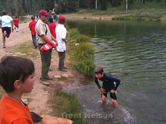 scout camp. Camp Frontier. Friday, July 24 2009.relay race in lake, eric unruh