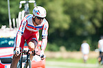 SITTARD, NETHERLANDS - AUGUST 16: Aliaksandr Kuchynski of Belarus riding for Katusha Team competes during stage 5 of the Eneco Tour 2013, a 13km individual time trial from Sittard to Geleen, on August 16, 2013 in Sittard, Netherlands. (Photo by Dirk Markgraf/www.265-images.com)