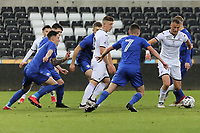 Pictured: Joe Lewis (R) and Cameron Evans (C) of Swansea. Tuesday 01 May 2018<br /> Re: Swansea U19 v Cardiff U19 FAW Youth Cup Final at the Liberty Stadium, Swansea, Wales, UK