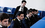 Baku - Azerbaijan - 08 December 2014 -- Azerbaijan State Marine Academy. -- Computer and simulator teacher Ismailov Ali checking on the progress of (2nd left) Javadzade Kanan (21) and Namazov Suleyman (20) practicing to save a ship in a flooding emergency. -- PHOTO: Sitara Ibrahimova / EUP-IMAGES