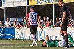 04.09.2018, Hoheellern-Stadion, Leer, GER, FSP, Werder Bremen (GER) vs FC Emmen (NED)<br /> <br /> DFL REGULATIONS PROHIBIT ANY USE OF PHOTOGRAPHS AS IMAGE SEQUENCES AND/OR QUASI-VIDEO.<br /> <br /> im Bild / picture shows<br /> Kevin Möhwald / Moehwald (Werder Bremen #06) bleibt nach Duell / Zweikampf mit Schmerzen liegen, Glenn Bijl (FC Emmen #23), <br /> <br /> Foto © nordphoto / Ewert