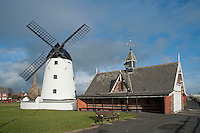 Windmill and old lifeboat house at Lytham, Lancashire,