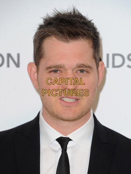 Michael Buble.The 21st Annual Elton John AIDS Foundation Academy Awards Viewing Party held at The City of West Hollywood Park in West Hollywood, California, USA..February 24th, 2013.oscars headshot portrait black white tie shirt suit stubble facial hair .CAP/DVS.©DVS/Capital Pictures.