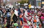 Native American dancers perform for the crowd during the annual Nevada Day parade in Carson City, Nev. on Saturday, Oct. 29, 2016. <br />