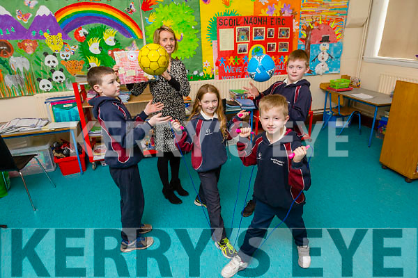 Kilmoyley National School Operation Transformation Fundraiser was launched on Friday. Pictured were Ruth O'Connor, Shane Stack, Kieran Sheehy, Brendan O'Sullivan  with teacher Mary Brick