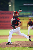 Batavia Muckdogs relief pitcher Joel Effertz (56) during the first game of a doubleheader against the Mahoning Valley Scrappers on August 17, 2016 at Dwyer Stadium in Batavia, New York.  Mahoning Valley defeated Batavia 10-3. (Mike Janes/Four Seam Images)