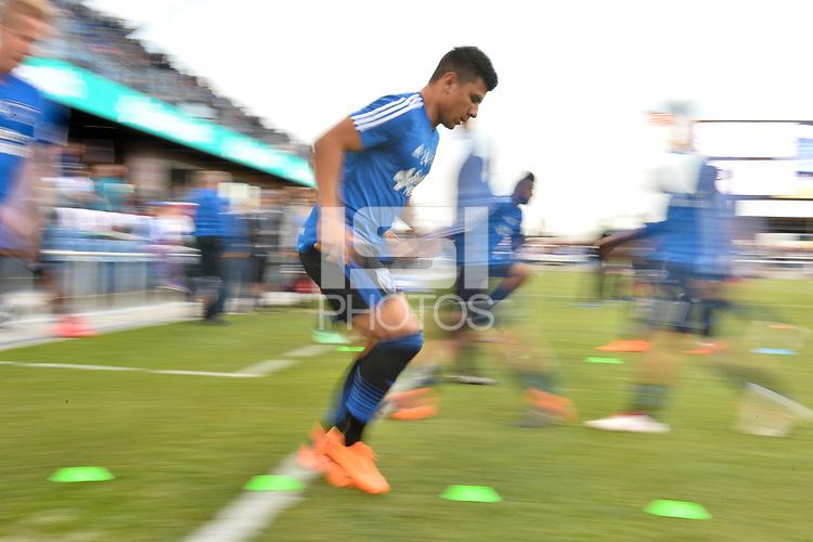 San Jose, CA - Saturday April 14, 2018: Nick Lima prior to a Major League Soccer (MLS) match between the San Jose Earthquakes and the Houston Dynamo at Avaya Stadium.