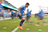San Jose, CA - Saturday April 14, 2018: Nick Lima prior to a Major League Soccer (MLS) match between the San Jose Earthquakes and the Houston Dynamo at Avaya Stadium.