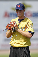 June 24, 2009:  Pitcher Victor Black of the State College Spikes warms up before a game at Eastwood Field in Niles, OH.  The Spikes are the NY-Penn League Short-Season A affiliate of the Pittsburgh Pirates; Black was chosen in the 2009 MLB draft as a first round supplemental pick.  Photo by:  Mike Janes/Four Seam Images