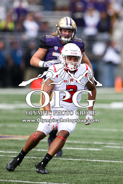 03 September 2016: Rutgers Jawuan Harris against Washington.  Washington defeated Rutgers 48-13 at the University of Washington in Seattle, WA.