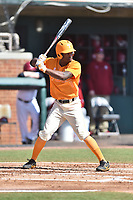 Tennessee Volunteers center fielder Brodie Leftridge (1) awaits a pitch during a game against the South Carolina Gamecocks at Lindsey Nelson Stadium on March 18, 2017 in Knoxville, Tennessee. The Gamecocks defeated Volunteers 6-5. (Tony Farlow/Four Seam Images)