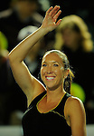 HONG KONG - JANUARY 07: Jelena Jankovic of Serbia celebrates after winning  her match with Michelle Larcher de Brito of Portugal against Venus Williams and Coco Vndeweghe of United States on day one of the World Team Challenge 2009 tournament held at Victoria Park January 7, 2009 in Hong Kong, China. Photo by Victor Fraile / The Power of Sport Images
