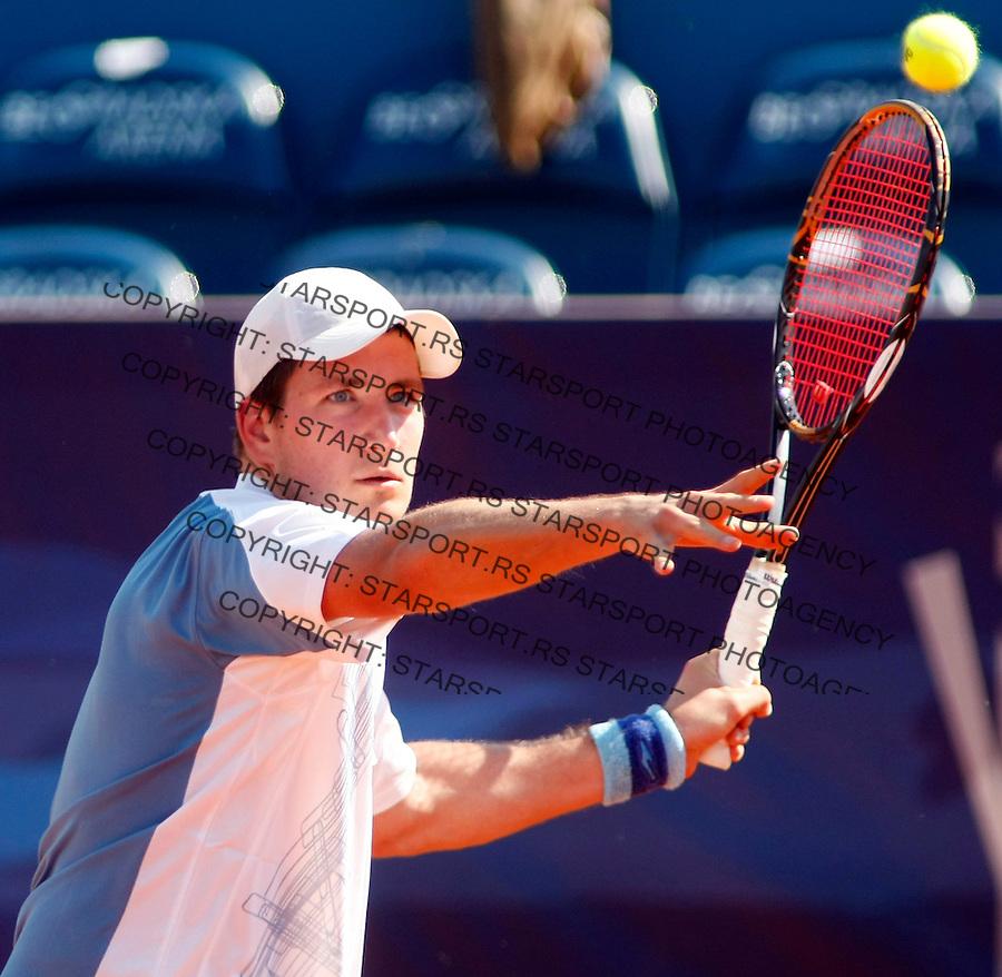 Tenis, .SERBIA OPEN 2010.Aleksandar Slovic Vs. Evgeny Donskoy.Aleksandar Slovic, returnes.Belgrade, 01.05.2010..foto: Srdjan Stevanovic/Starsportphoto ©