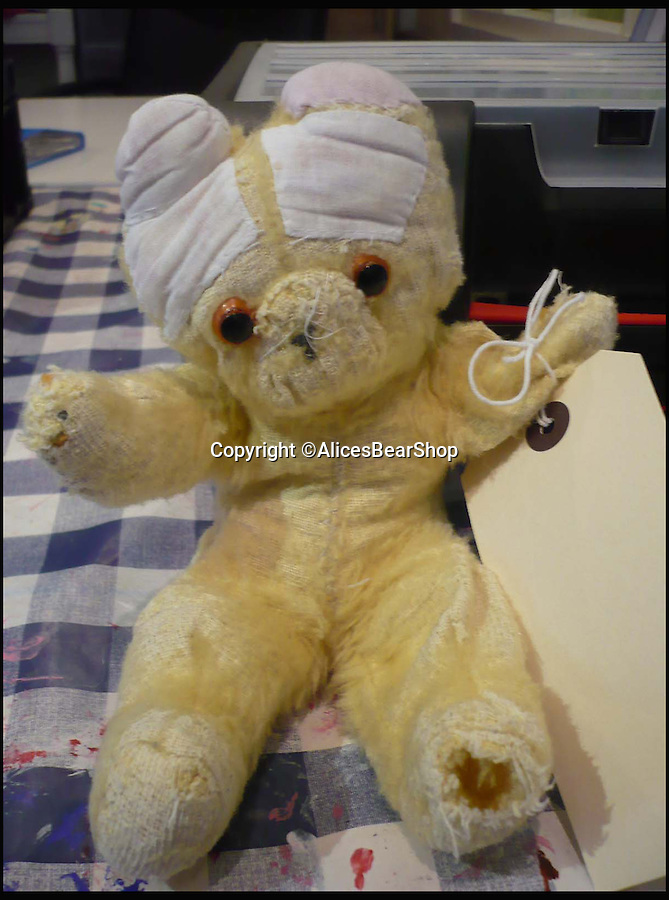 BNPS.co.uk (01202 558833)<br /> Pic: AlicesBearShop/BNPS<br /> <br /> Emma Thompson's bear when it arrived at Alice's Bear Shop.<br /> <br /> Broken bears and deteriorating dolls from all over the world are being brought back to life by a UK team of dedicated doctors and nurses at one of the last remaining toy hospitals.<br /> <br /> The team at Alice's Bear Shop, a teddy bear and doll hospital in Lyme Regis, Dorset, perform all kinds of 'surgery' from simple restringing and re-stuffing to head re-attachments and complete skin grafts.<br /> <br /> Rikey Austin, 49, opened the hospital in January 2000 but also ran a shop and only repaired one or two toys a month.<br /> <br /> Now she has a four-month waiting list for patients and has had to close the shop to focus on the hospital side of the business.