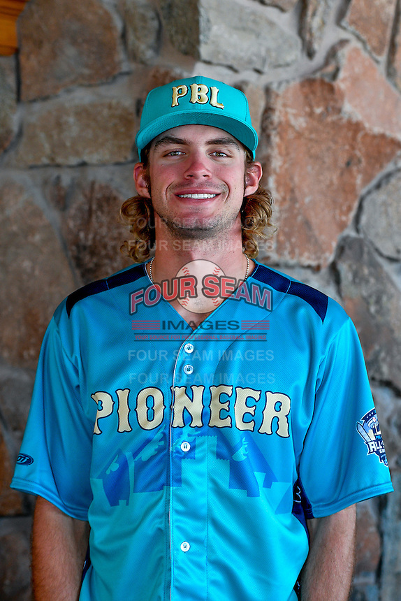 DJ Peters (27) of the Ogden Raptors and the Pioneer League All-Stars poses for a photo during activities before the 2nd Annual Northwest League-Pioneer League All-Star Game at Snowbasin Resort on August 1, 2016 in Ogden, Utah. (Stephen Smith/Four Seam Images)